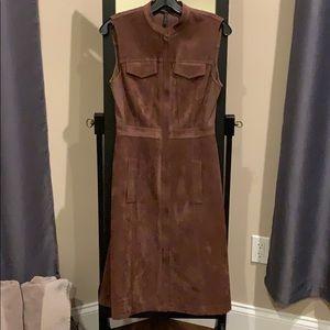 BCBG Sleek, brown faux suede dress
